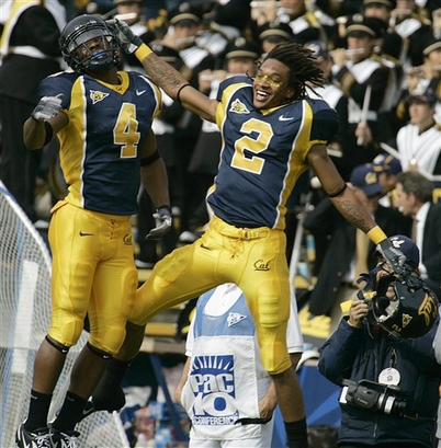 Robert Jordan and Jahvid Best celebrate during Cal's 45-27 win over Arizona